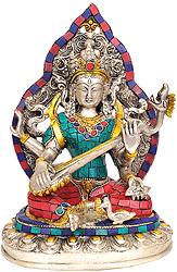 Goddess Saraswati (Inlay Statue)