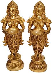 Pair of Deeplakshmi - Goddess of Prosperity