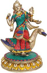 Seated Goddess Saraswati with Veena