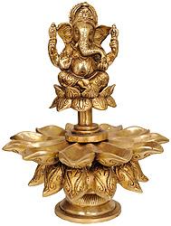 Lord Ganesha with Lotus Petal Diyas