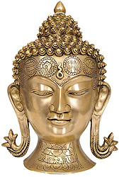 Lord Buddha Head with Auspicious Symbols