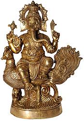 Bhagawan Ganesha Seated on Peacock