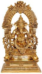 Bhagawan Ganesha with Floral Aureole