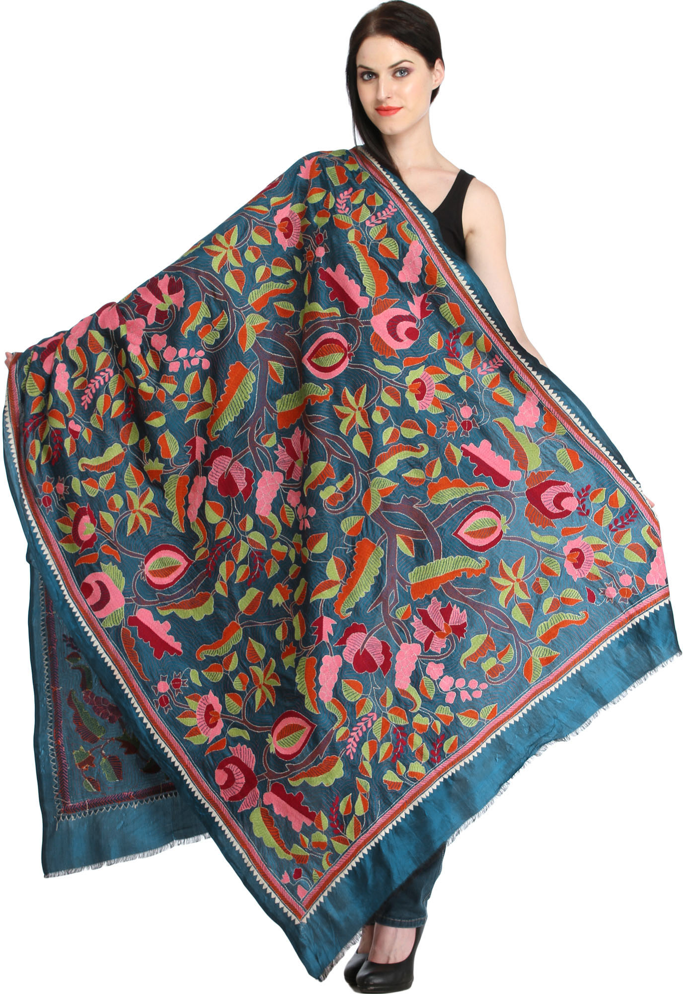 Ink blue dupatta from kolkata with kantha hand embroidered