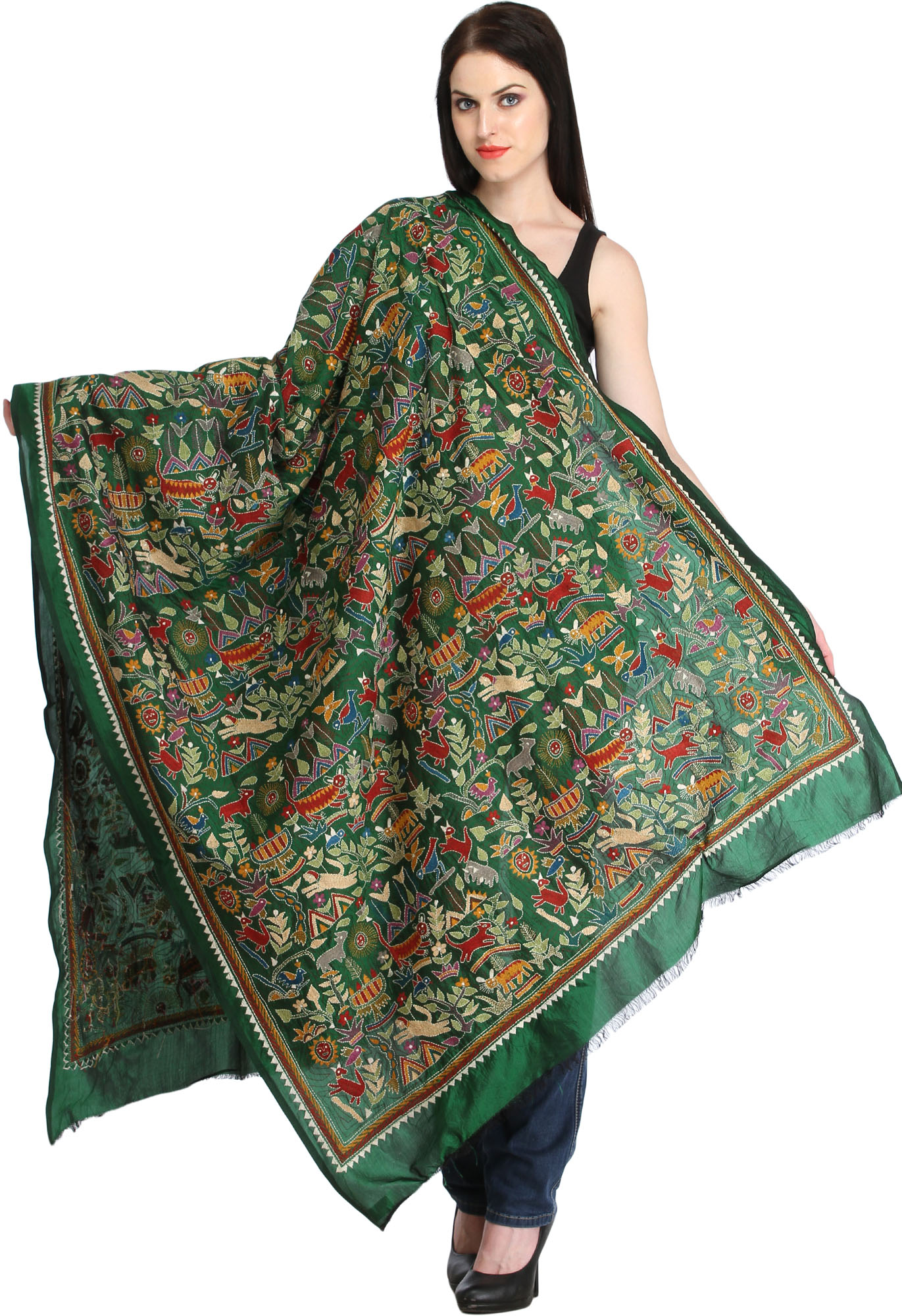 Foliage green kantha hand embroidered dupatta from kolkata