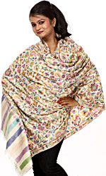 Authentic Kani Shawl with Woven Flowers in Multi-Color Threads
