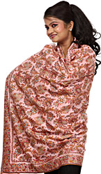 Begonia-Pink Pure Pashmina Shawl from Kashmir with Intricate Embroidered Flowers by Hand