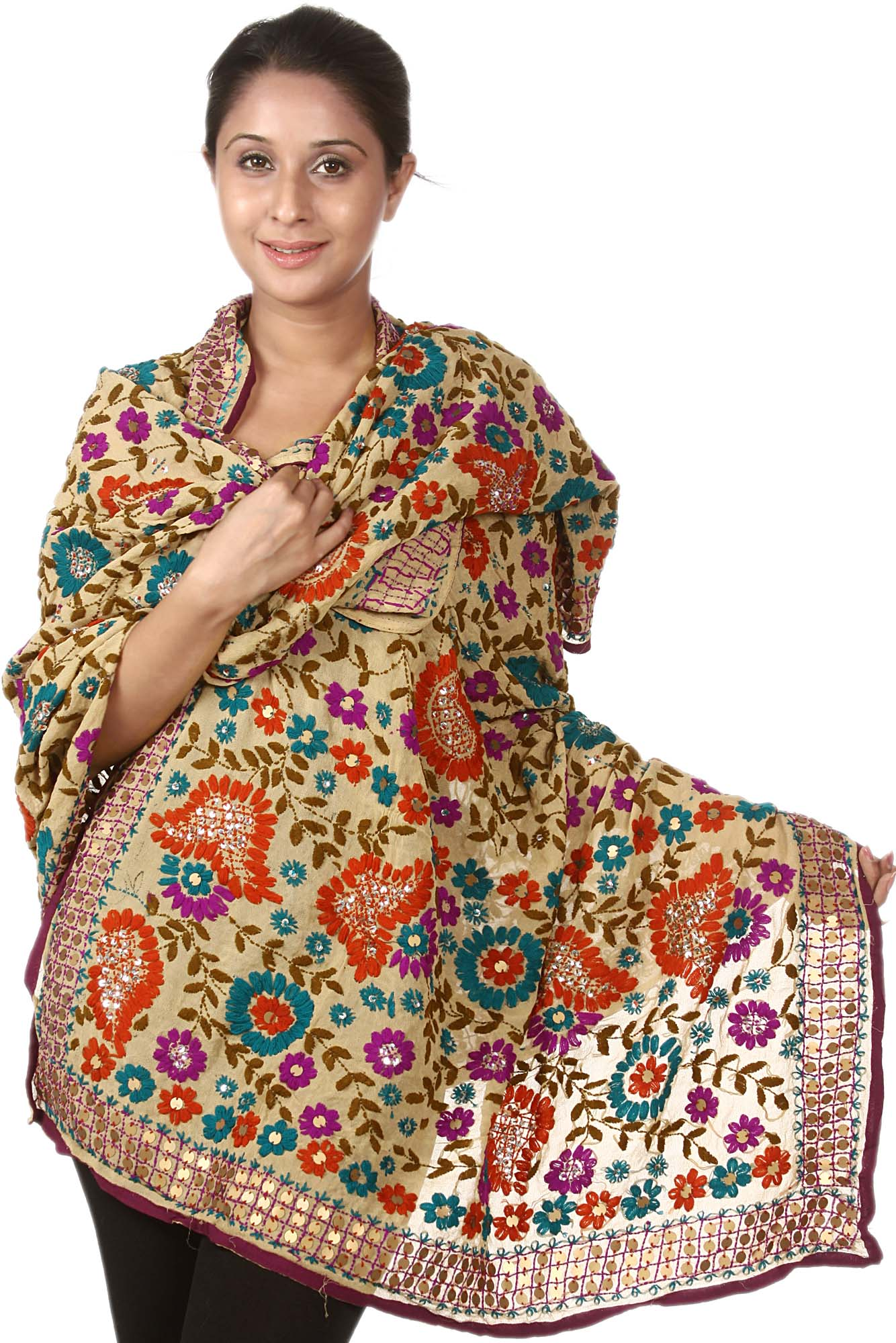 Beige phulkari dupatta from punjab with ari embroidery by hand