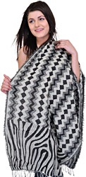 Black and Gray Stole with Geometric Weave