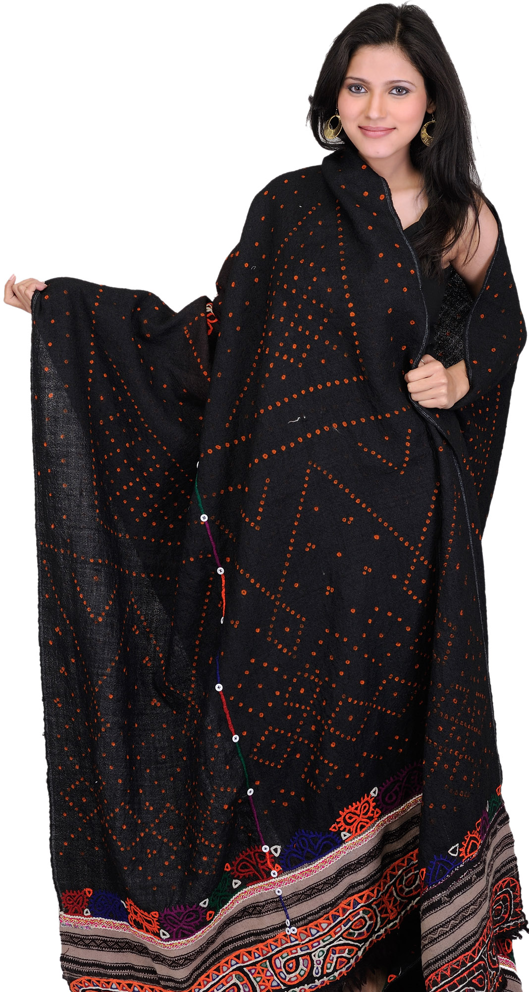 Black antiquated shawl from kutch with rabari embroidery
