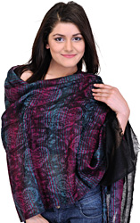 Black Cashmere Stole with Woven Paisleys