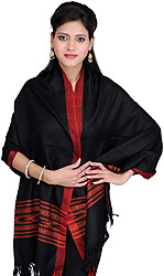 Black Doeskin Stole  from Kullu with Kinnauri Woven Red Border