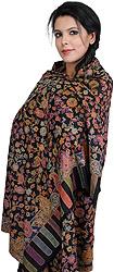 Black Kani Shawl with Woven Flowers and Kalamkari Embroidery