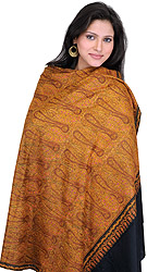 Black Pashmina Shawl from Kashmir with Authentic Intricate Jamdani Embroidery by Hand