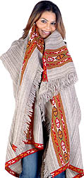 Camel Colored Shawl with Kullu Border