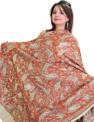 Cloud Cream Kantha Dupatta with Embroidered Birds and Flowers