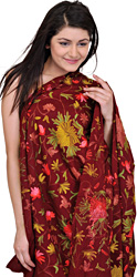 Cordovan-Red Kashmiri Shawl with Ari Embroidered Flowers by Hand