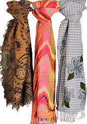 Lot of Three Jamawar Stoles with Ari-Embroidery