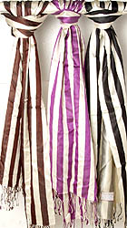 Lot of Three Ivory Striped Woven Scarves