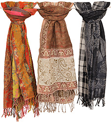 Lot of Three Jamawar Stoles with All-Over Weave