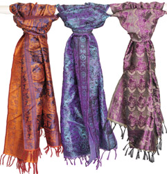 Lot of Three Banarasi Resham Stoles with All-Over Woven Peacocks