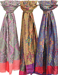 Lot of Three Modal Stoles with All-Over Phulkari Weave and Solid Border