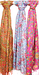 Lot of Three Floral Printed Scarves