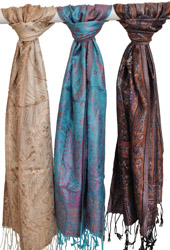 Lot of Three Super Silk Jamawar Scarves with Solid Border