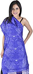 Dazzling Blue Sambhalpuri Stole from Orissa with Ikat Weave