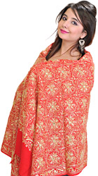 Fiery-Red Stole from Amritsar with Ari Embroidery and Sequins