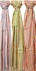 Assorted Lot of Three Pure Silk Hand-woven Stoles