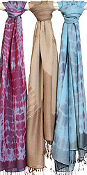 Lot of Three Batik-Dyed Silk-Wool Stoles from Nepal