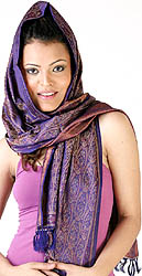 Salmon-Pink Tehra Banarasi Stole Hand-Woven with All-Over Paisleys