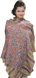 Gray Pure Pashmina Stole with Multi-Color Kani Weave