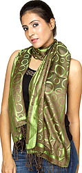Green and Gray Reversible Stole with Woven Circles