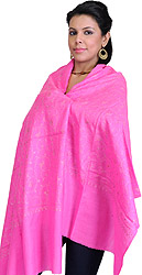 Hot-Pink Stole from Kashmir with Needle Stitch Embroidery All-Over