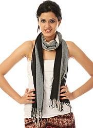 Ivory and Black Check Scarf