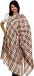 Ivory and Brown Woven Plaid Pashmina Shawl