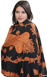 Jet-Black Kashmiri Stole with Ari Embroidered Paisleys by Hand