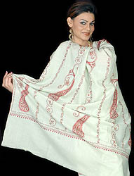 Light-Green Tusha Shawl with Needle Embroidered Paisleys by Hand