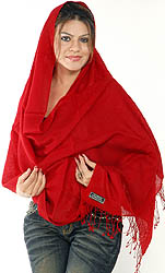Red Silk-Pashmina Shawl from Nepal