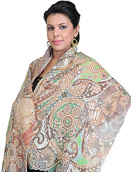 Multi Color Stole with Digital Printed Paisleys
