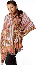 Multi-Color Striped Reversible Boiled-Wool Stole