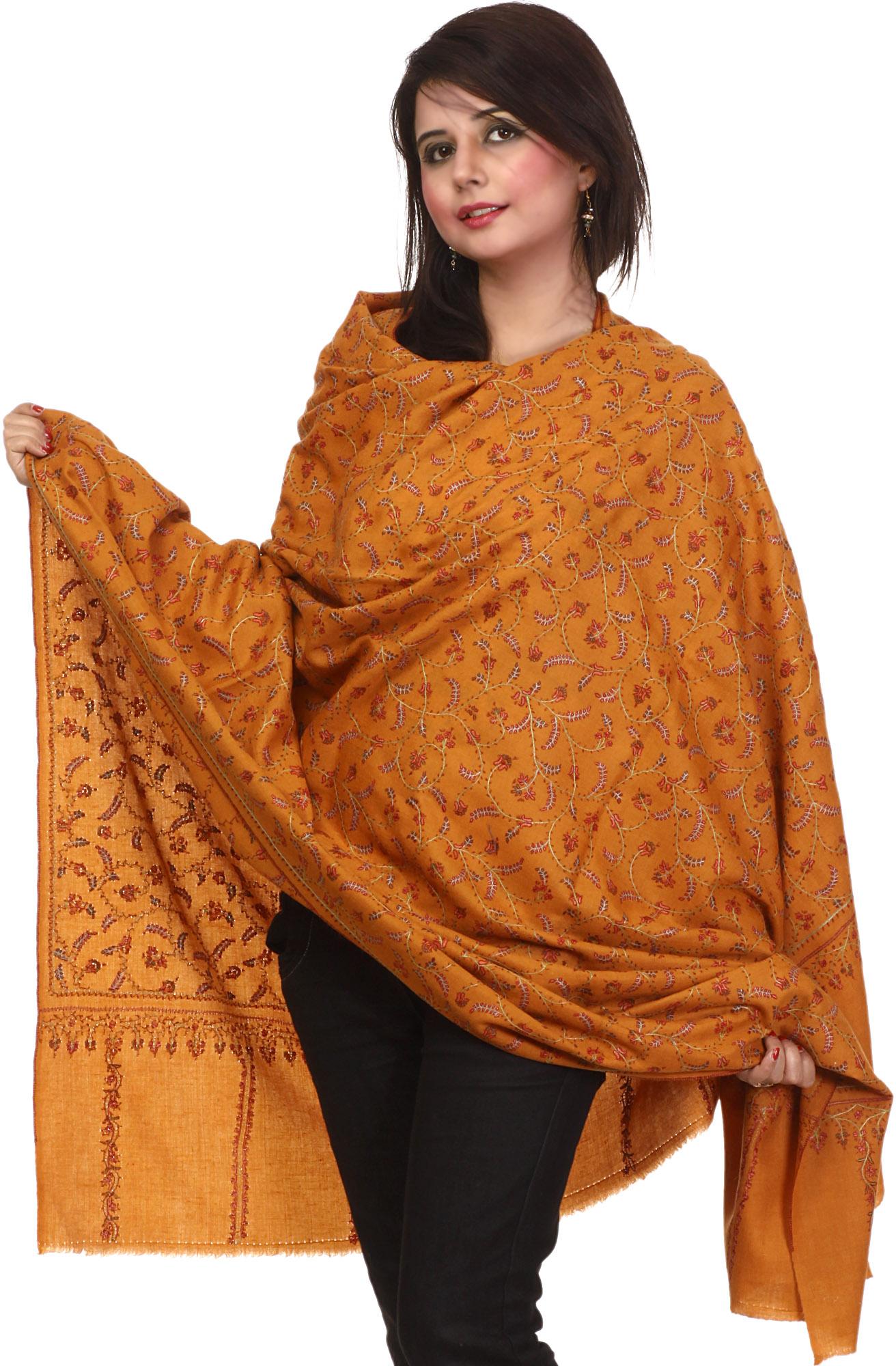 mustard pashmina shawl from kashmir with sozni