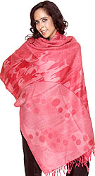 Nostalgia-Rose Reversible Jamawar Stole with Woven Polka Dots