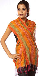 Orange and Green Scarf with Crystals