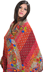 Orange and Rust Jamawar Stole with Crewel Embroidered Paisleys on Border