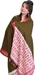 Plain Fir Green and Red Dupatta from Pochampally with Ikat Weave