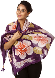 Plum-Purple Shawl with Large Printed Flowers with Leaves