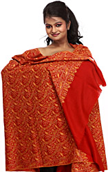 Pompeian-Red Pure Pashmina Shawl from Kashmir with Sozni Embroidered Paisleys by Hand